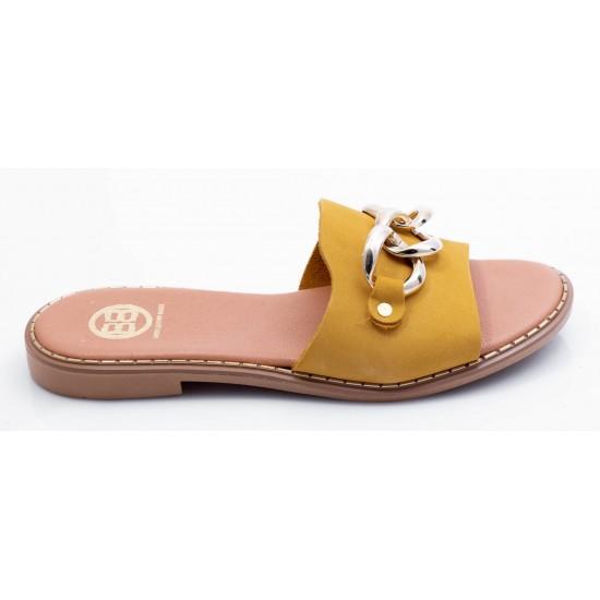 Γυναικεία Δερμάτινα Flat BOKASHOES Κίτρινα 024Κ213
