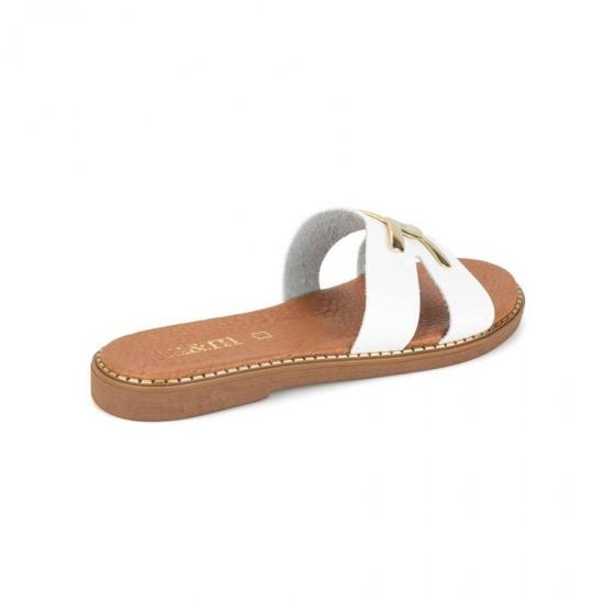 Γυναικεία Δερμάτινα Flat BOKASHOES Άσπρα 024Κ214